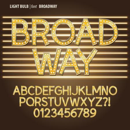 czcionki: Złoty Broadway Żarówka Alfabet i cyfry wektor