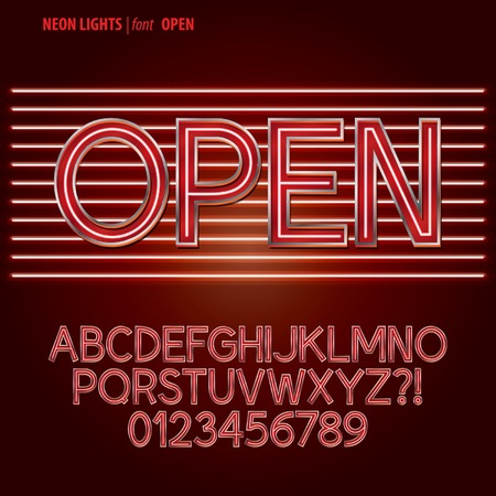 Red Neon Lights Alphabet and Digit Vector