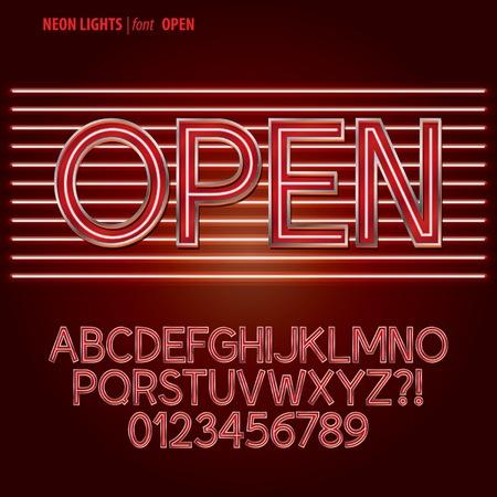 Red Neon Lights Alphabet and Digit Vector Vector