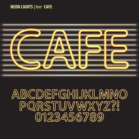 fluorescent light: Yellow Neon Lights Alphabet and Digit Vector Illustration