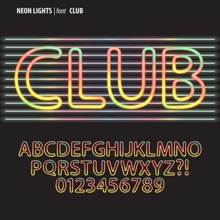 Colorful Neon Lights Alphabet and Digit Vector