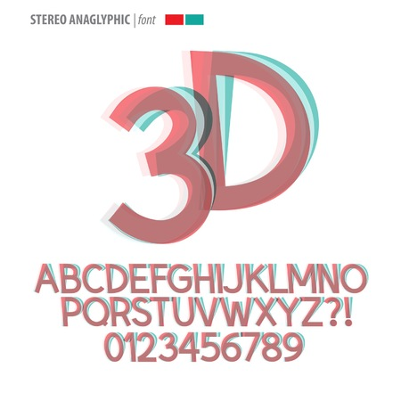 Stereo Anaglyphic Alphabet and Digit Vector Vector