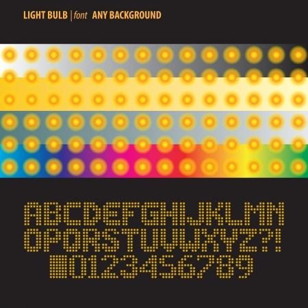 Orange Light Bulb Alphabet and Digit Vector