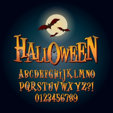 halloween poster: Three Dimensional Halloween Alphabet and Digit Vector