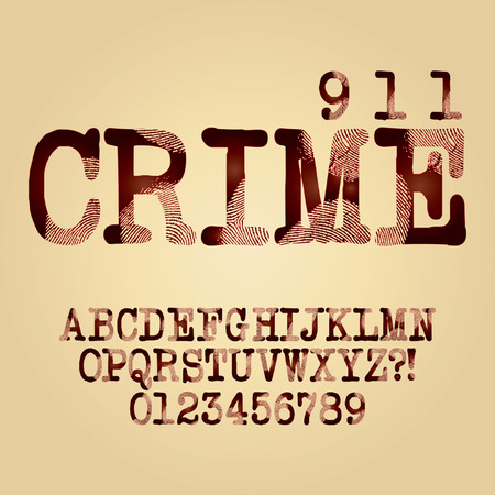 Abstract Criminal Alphabet and Digit  Illustration