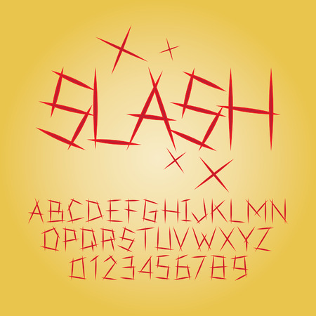 slash: Abstract Slash Alphabet and Digit  Illustration