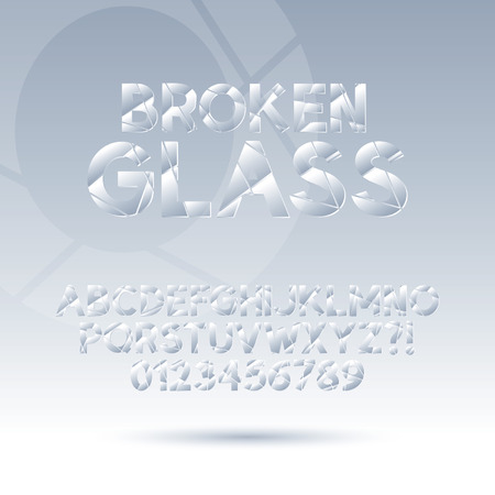 broken glass: Abstract Broken Glass Font and Numbers, Editable for any