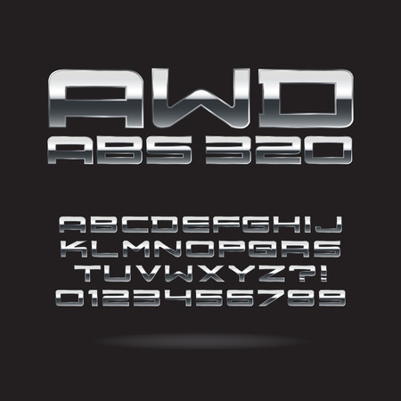 number plate: Metallic Chrome Font and Numbers, Editable for any