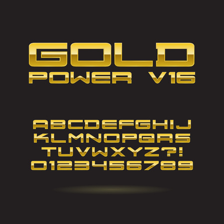 Golden Chrome Font and Numbers, Editable for any