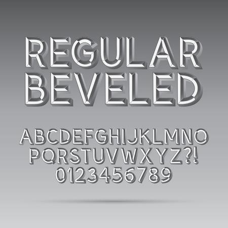 bevel: Beveled Outline Font and Digit Illustration