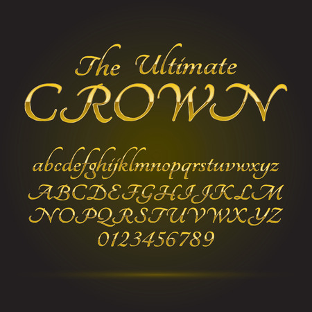 Luxe Golden Font and Numbers Stock Illustratie