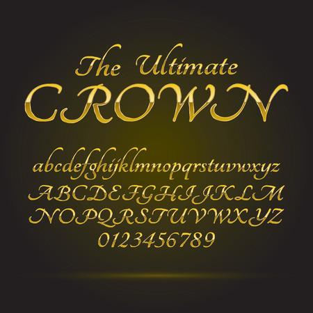 Luxury Golden Font e Numeri Archivio Fotografico - 25637483