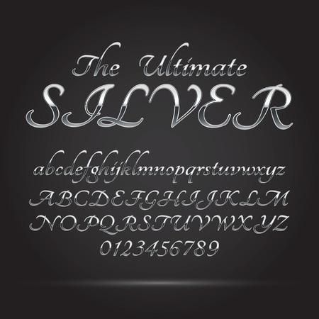 platina: Silver Platinum Font and Numbers