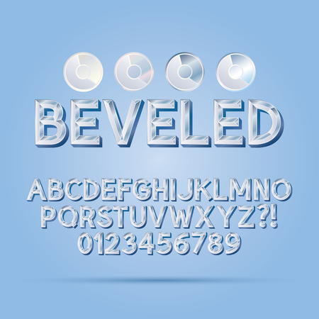 beveled: Crystal Beveled Outline Font and Numbers
