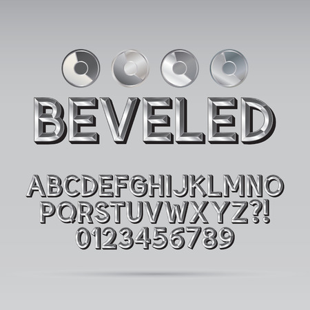 Steel Beveled Outline Font and Digit Vector