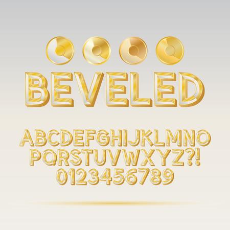 Gold Beveled Outline Font and Digit