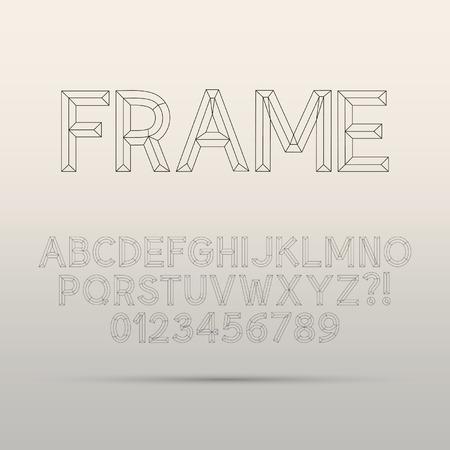 Line Framework Font and Digit Vectores