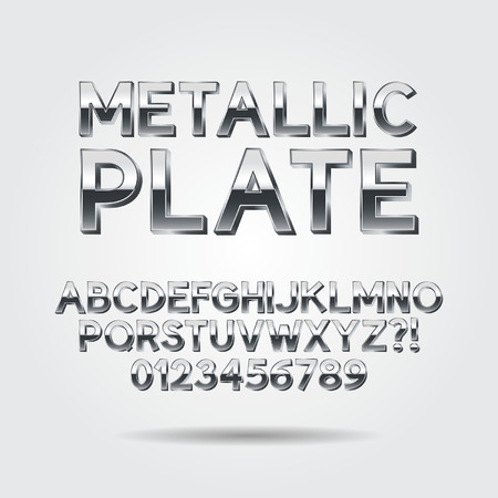 Metallic Font and Numbers Vectores