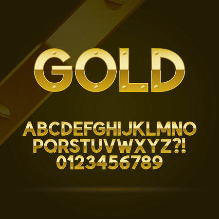 Goud Font and Numbers Achtergrond