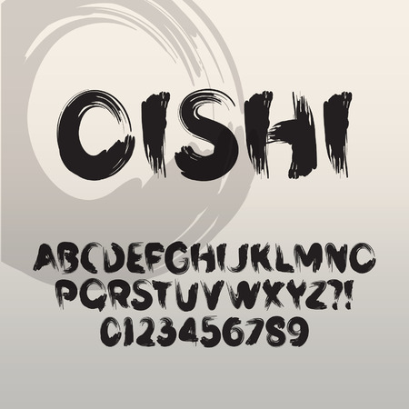 Oishi, Abstract Japans Brush Font and Numbers Stock Illustratie