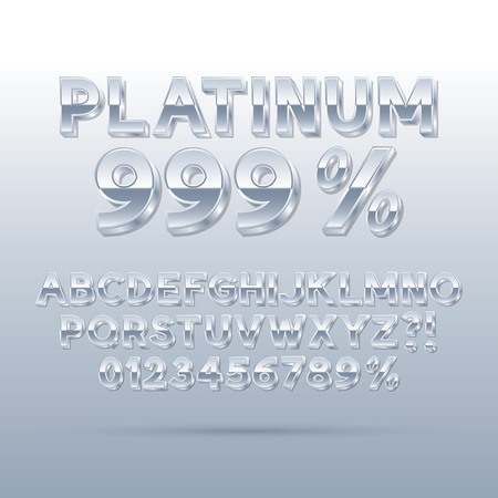 platina: Platinum Silver Font and Numbers Achtergrond