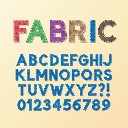 Abstract Fabric Font and Numbers background