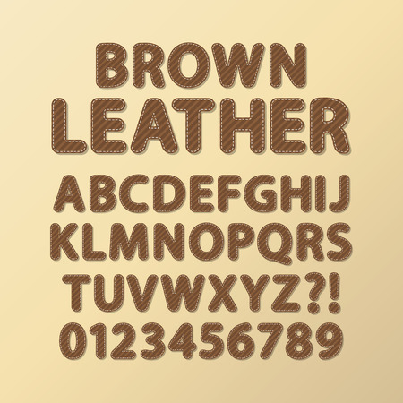 stitched: Abstract Rounded Brown Leather Font and Numbers