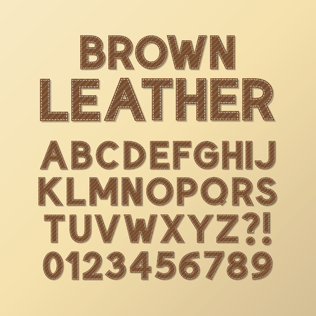 stitches: Abstract Brown Leather Font and Numbers