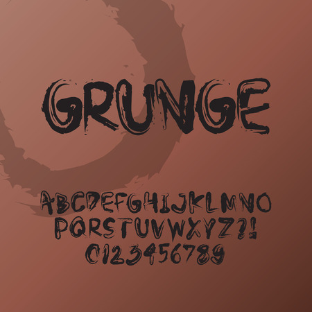 Abstract Grunge Font and Numbers Vector