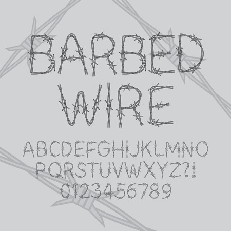 Barbed Wire Font and Numbers Vector