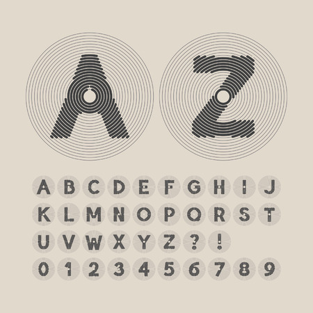 Abstract Line Circle Font and Numbers