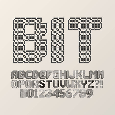 Abstract Square Bit Font and Numbers, Eps 10 Vector Vector