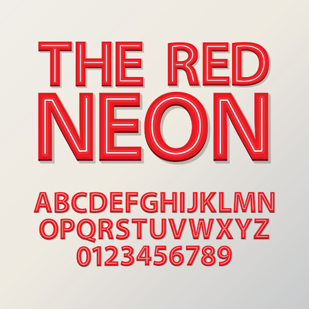 Abstract Red Neon Font and Numbers, Eps 10 Vector Vector