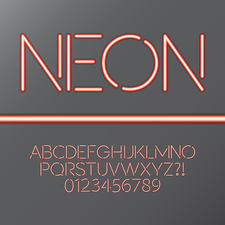 Red Neon Tube Alphabet and Numbers Vector