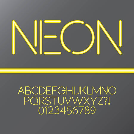 yellow character: Yellow Neon Tube Alphabet and Numbers, Eps 10 Vector