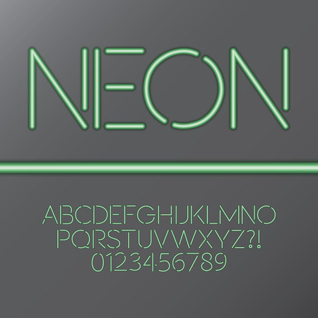 Green Neon Tube Alphabet and Numbers Vector