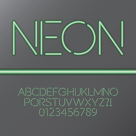 tubos fluorescentes: Tubo verde de neón Alfabeto y números
