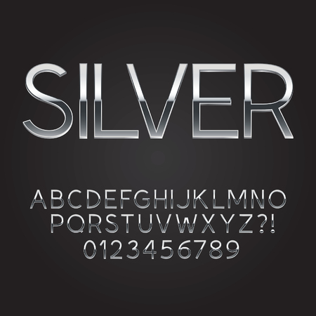 Thin Sliver Steel Font and Numbers Vectores