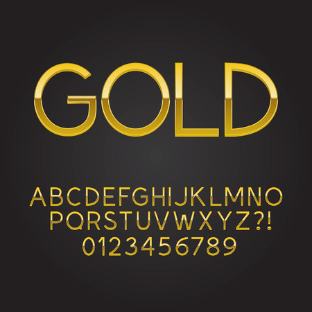 Thin Gold Font and Numbers Vector
