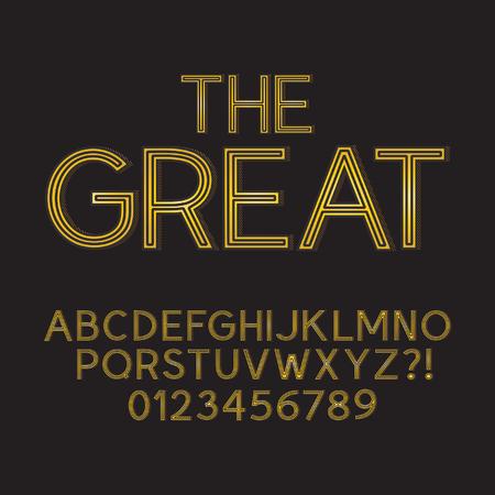 retro font: Astratto oro Retro Font e Numeri