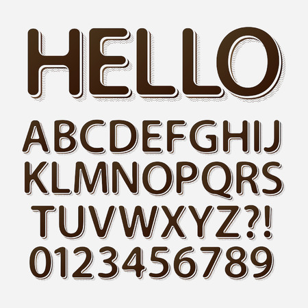 Rounded Vintage Retro Font and Numbers Vectores