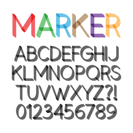text marker: Rounded Bold Marker Pen Font and Numbers