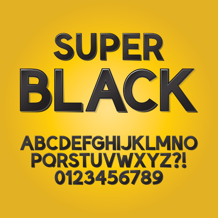 Abstract Black Shade Font and Numbers