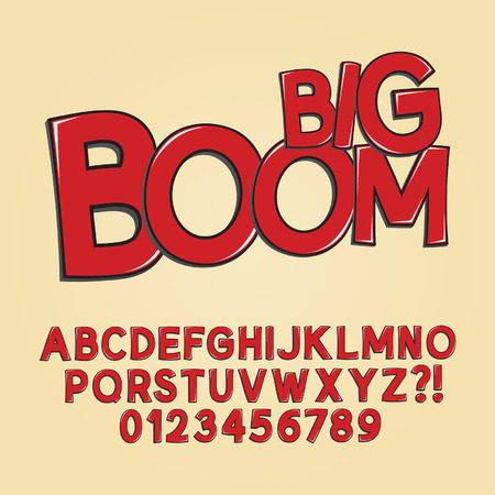 Abstract Boom Pop Art Font and Numbers Vectores