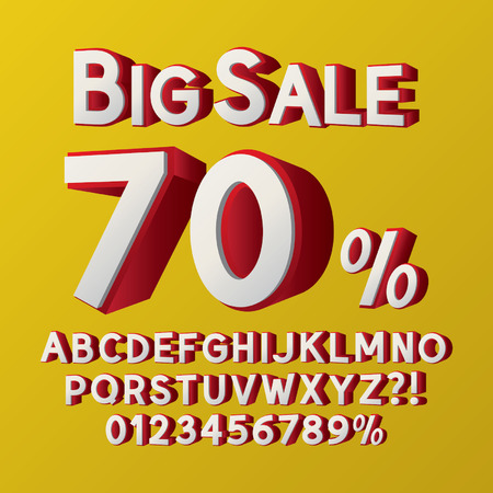 Left Isometric 3D Font and Numbers
