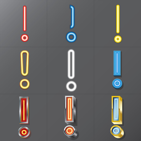 Set of Neon Style Exclamation Mark, Eps 10 Vector, Editable for Any Background, No Clipping Masks Vector