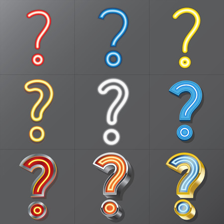 Set of Neon Style Question Mark, Eps 10 Vector, Editable for Any Background, No Clipping Masks Vector