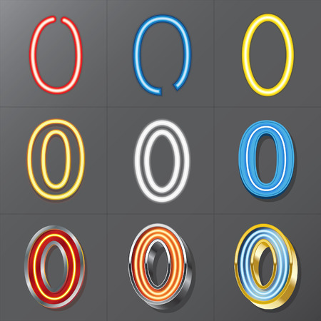 Set of Neon Style Number 0, Eps 10 Vector, Editable for Any Background, No Clipping Masks Vector