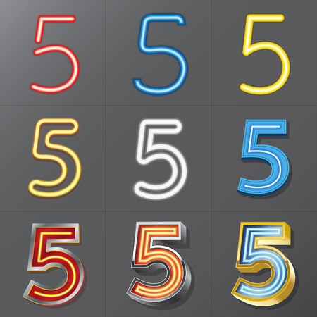 Set of Neon Style Number 5, Eps 10 Vector, Editable for Any Background, No Clipping Masks Vector