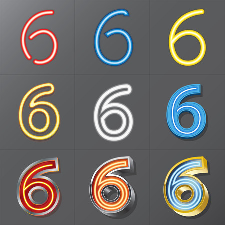 Set of Neon Style Number 6, Eps 10 Vector, Editable for Any Background, No Clipping Masks Vector